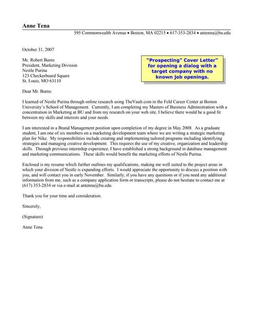 Nestle Cover Letter | Prospecting Cover Letter