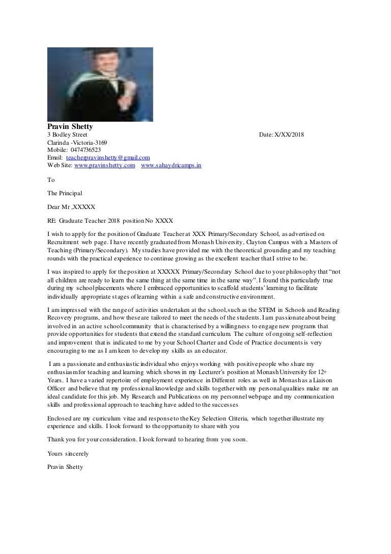 Cover Letter Teaching Jobs Pravin