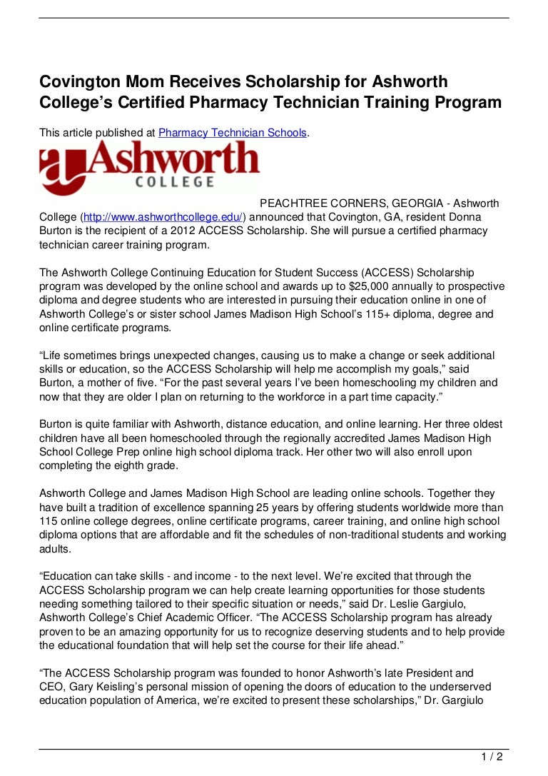 Covington Mom Receives Scholarship For Ashworth Colleges Certified P