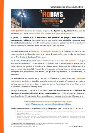 Communiqué de presse - FIDDAYS - Conférences pour Entrepreneurs