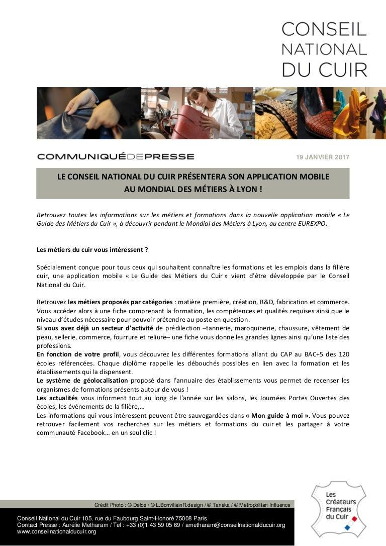 D Ou Vient Le Cuir cp - le conseil national du cuir présentera son application