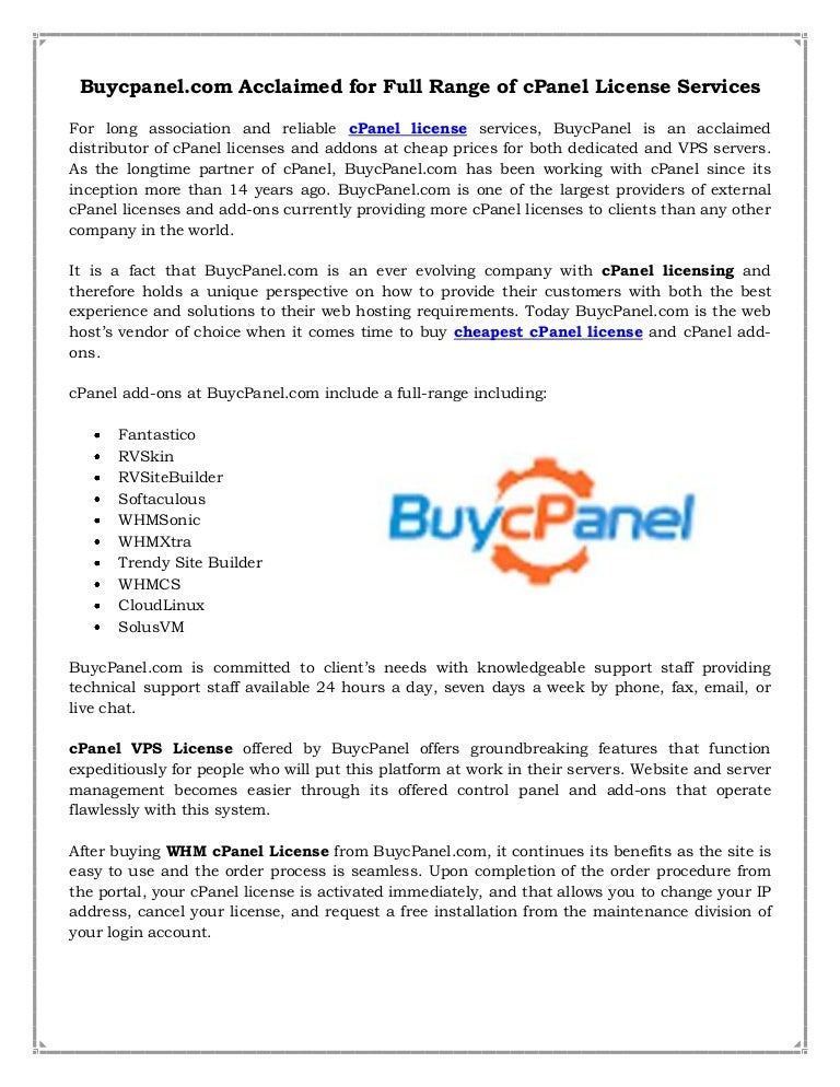 Buy License Cpanel