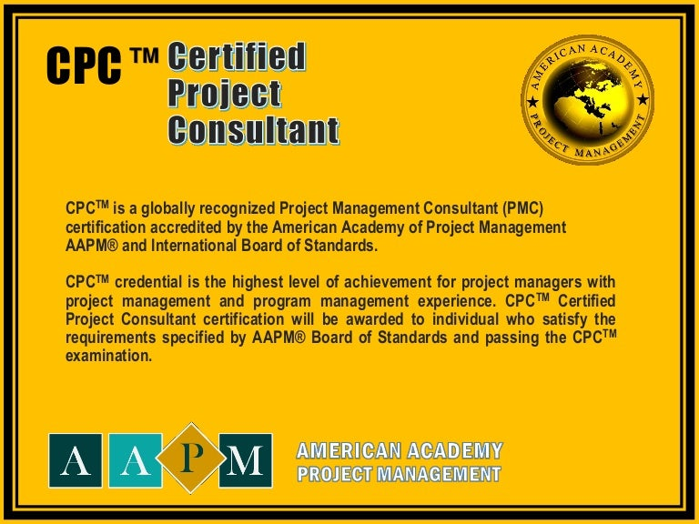 Certified Project Consultant Cpc