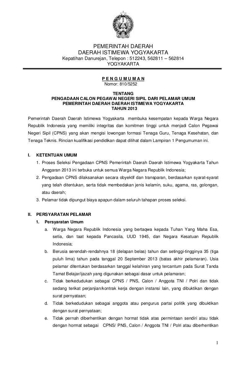 Cpns Yogyakarta 2013