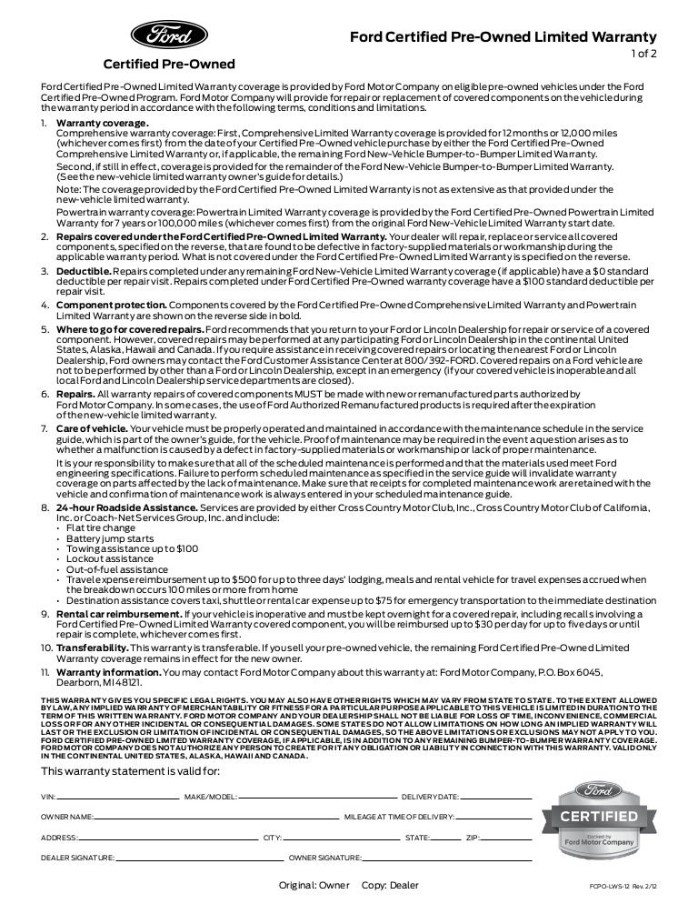 sc 1 st  SlideShare & Certified Preowned Ford - Warranty markmcfarlin.com