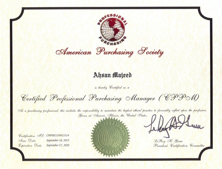 CERTIFIED PROFESSIONAL PURCHASING MANAGER