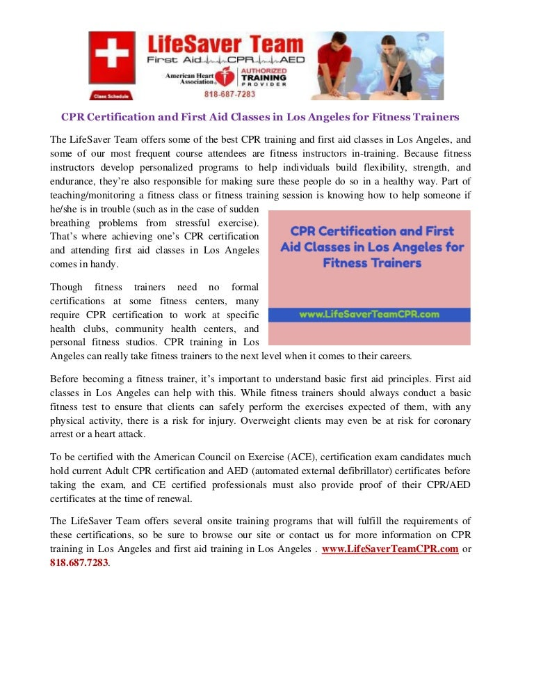 Cpr Certification And First Aid Classes In Los Angeles For Fitness Tr
