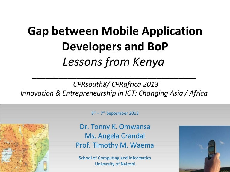 Mobile apps usage at BoP in Kenya- presented in Mysore, India