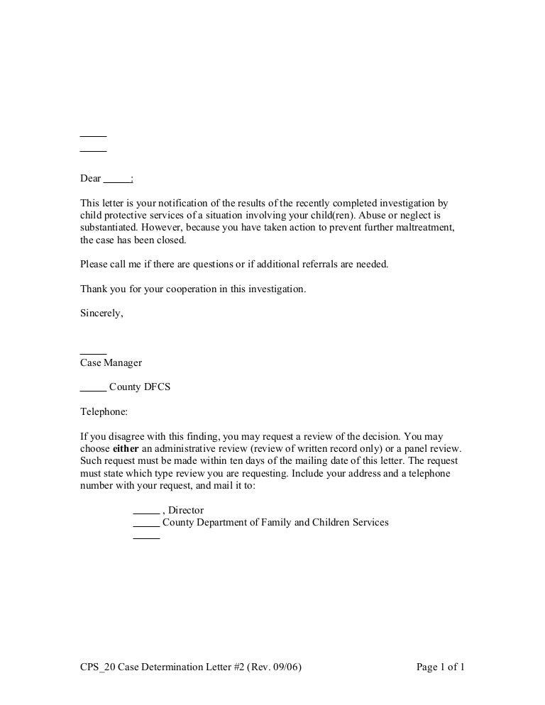 Cps 20 case determination letter #2