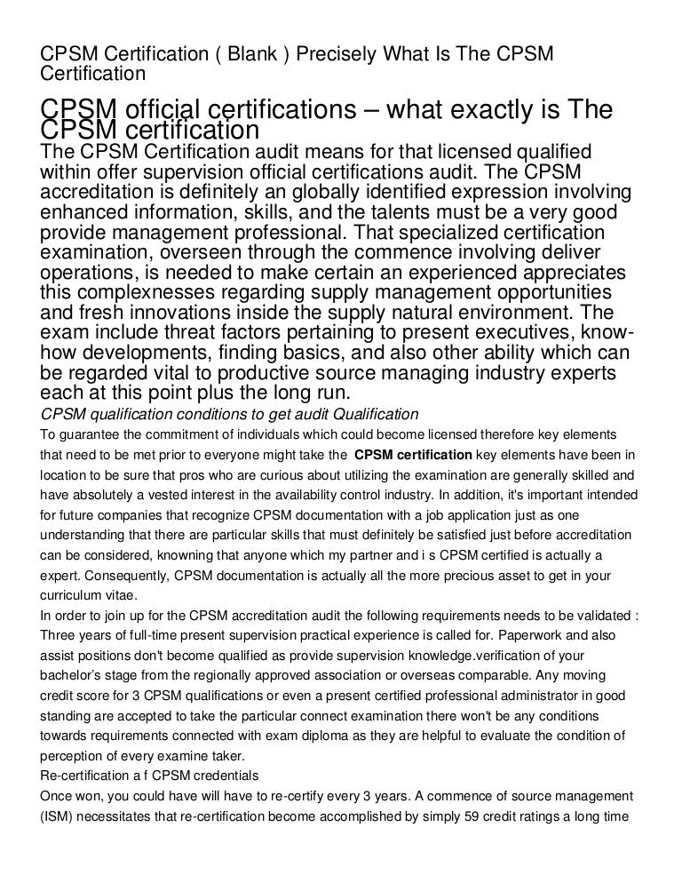cpsm blank certification