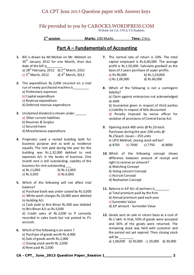 Cpt june 2013 question paper with solution[carocks.wordpress.com]