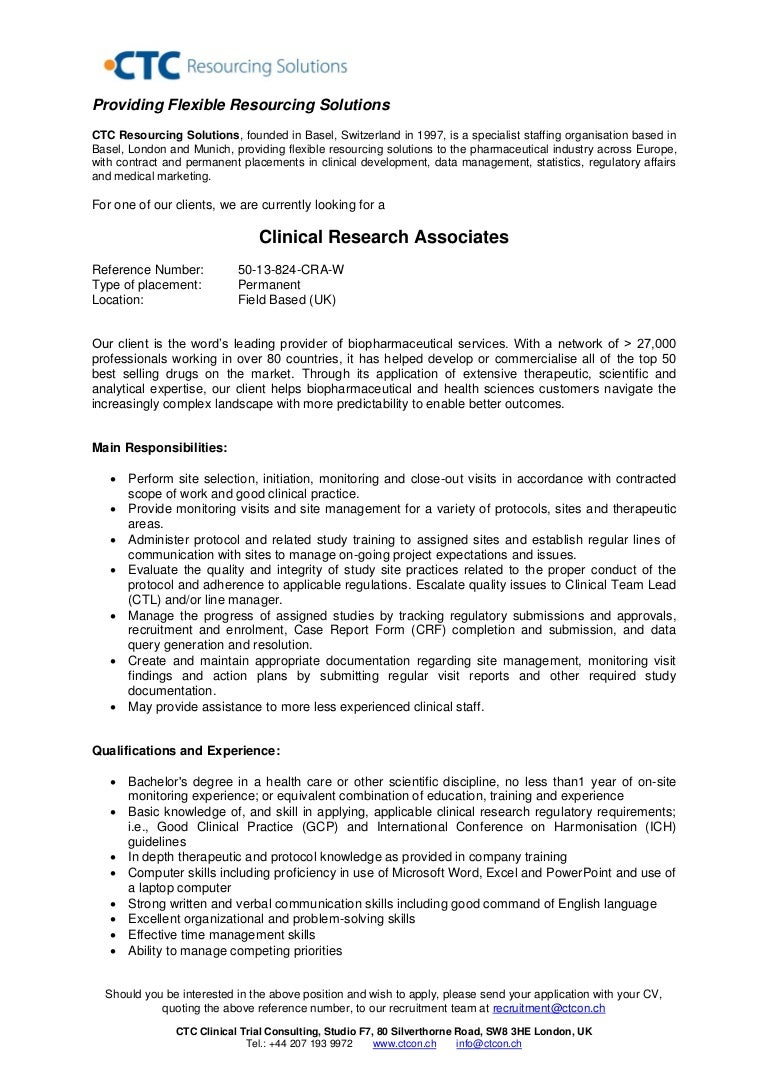 Nice Cra Sample Resume  Clinical Research Resume