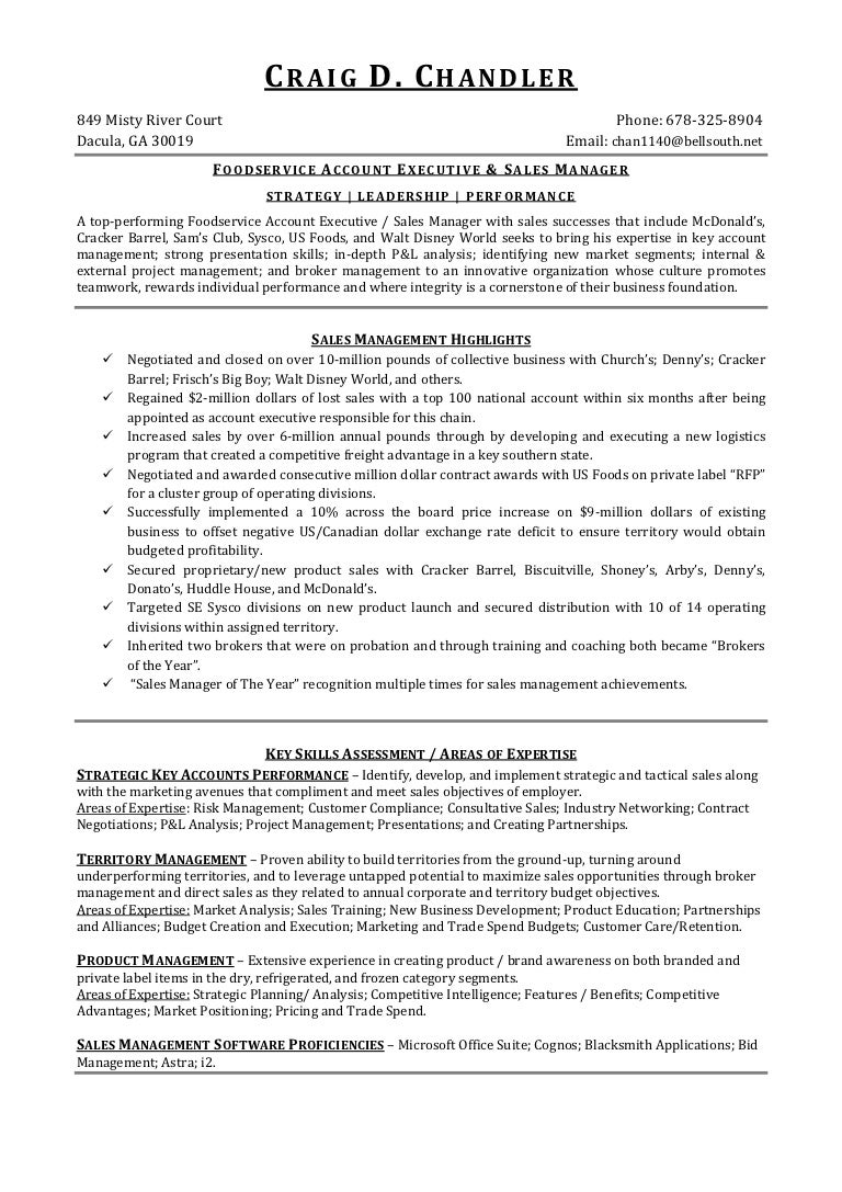 craig d chandler foodservice resume 2013 1 5 13 - Sample Resume For Food Service Manager