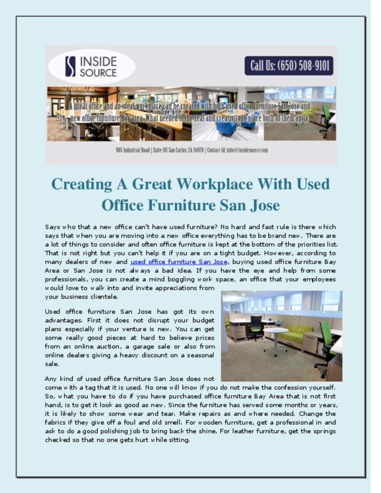 Incredible Creating A Great Workplace With Used Office Furniture San Jose Home Remodeling Inspirations Cosmcuboardxyz