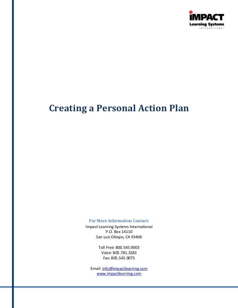 Creating A Personal Action Plan – Sample Personal Action Plan