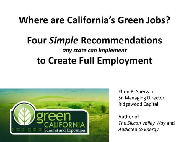 Creating Green Jobs - The Sherwin Plan