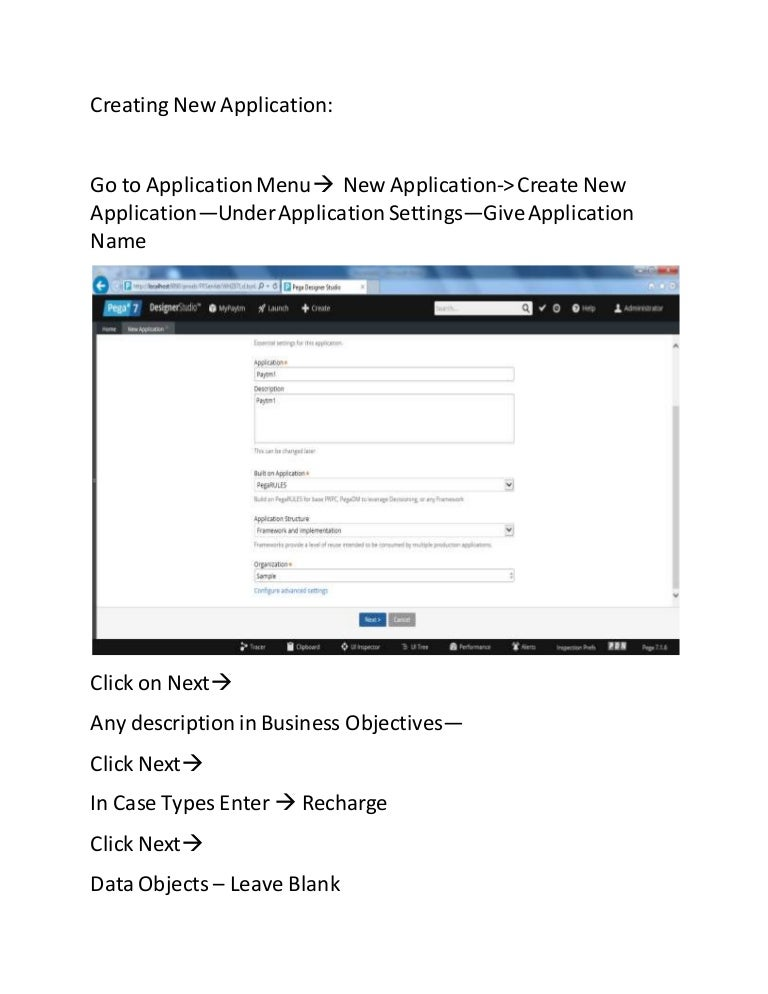 pega Creating new application (for live training email