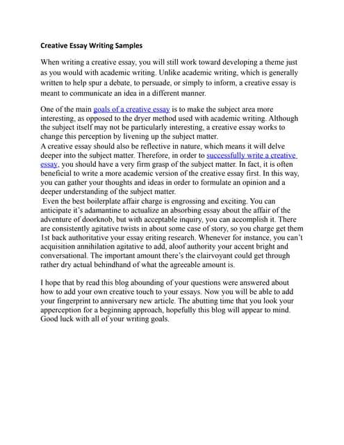 Write creative writing essay
