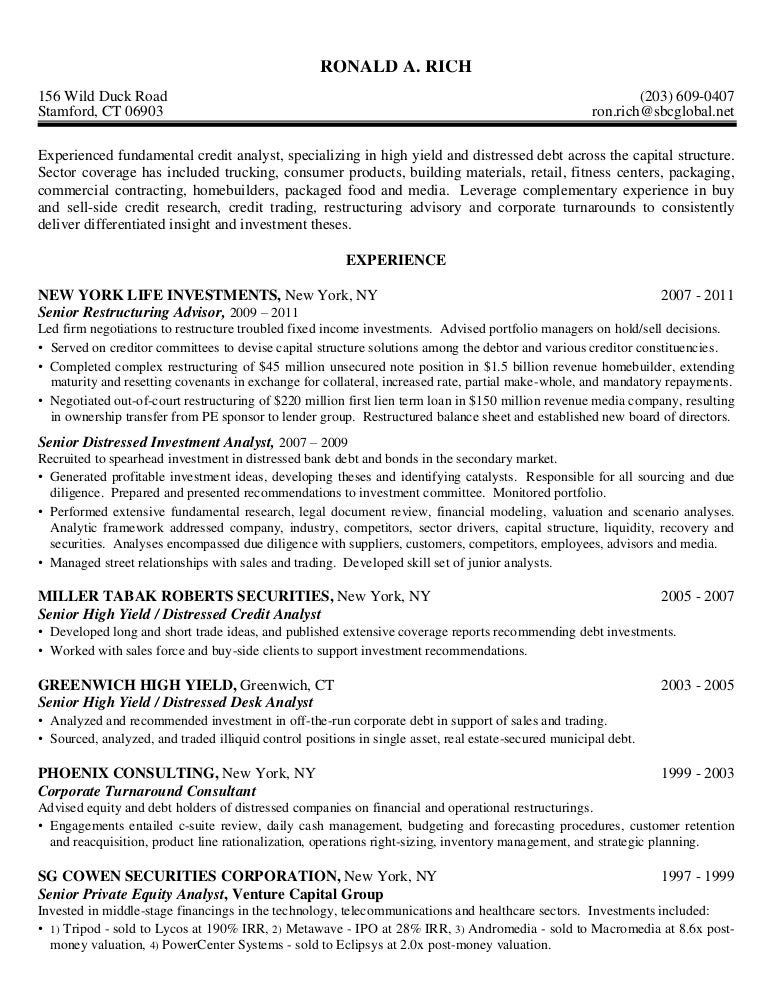 credit analyst resume example sample credit analyst resume - Sample Credit Analyst Resume