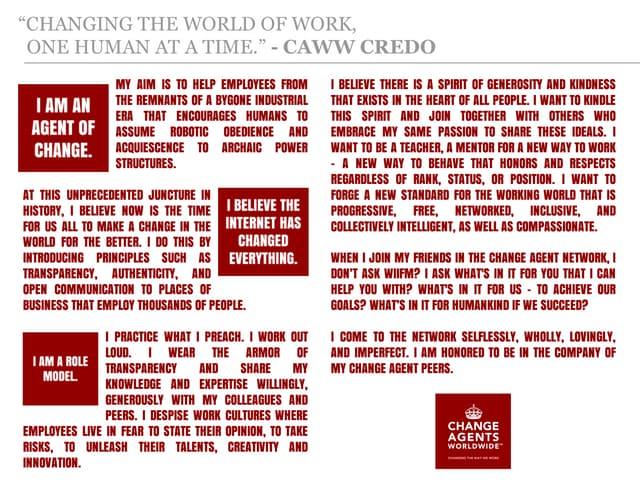 Change Agents Worldwide Credo