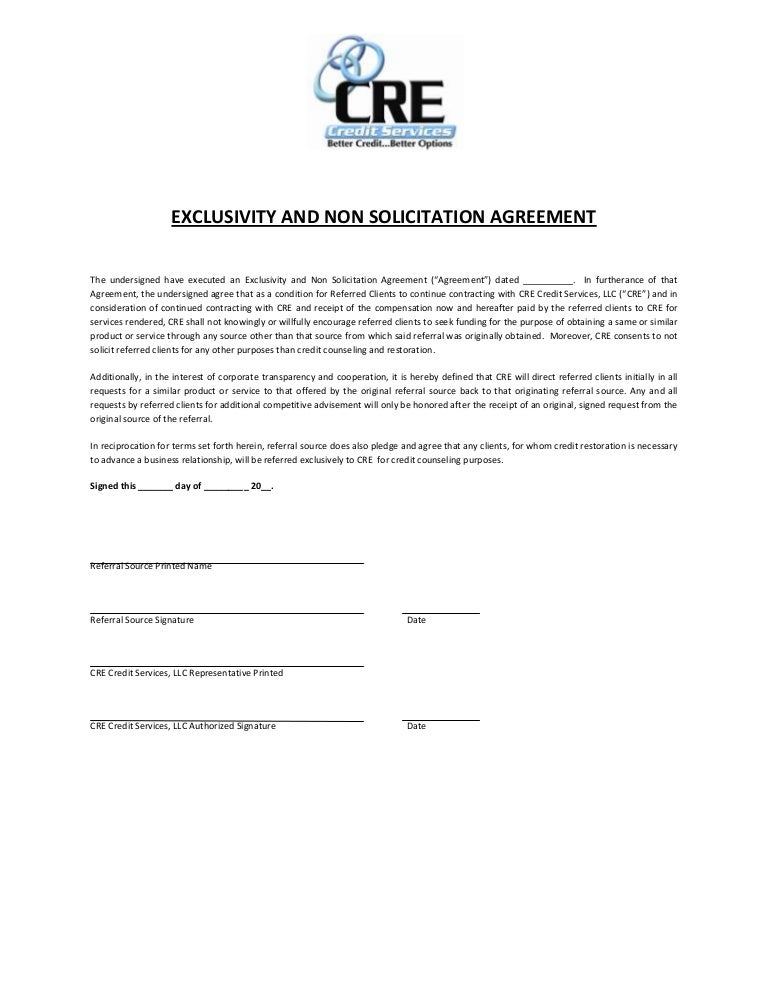 Cre Exclusivity And Non Solicitation Agreement