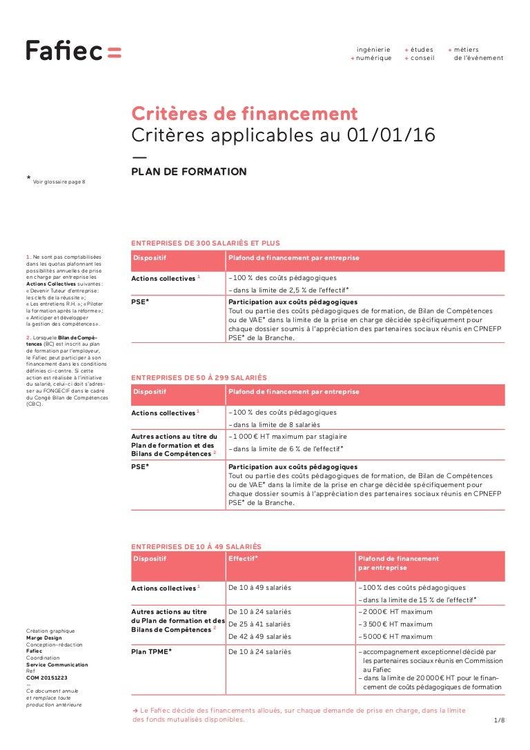 Criteres De Financement Fafiec 2016