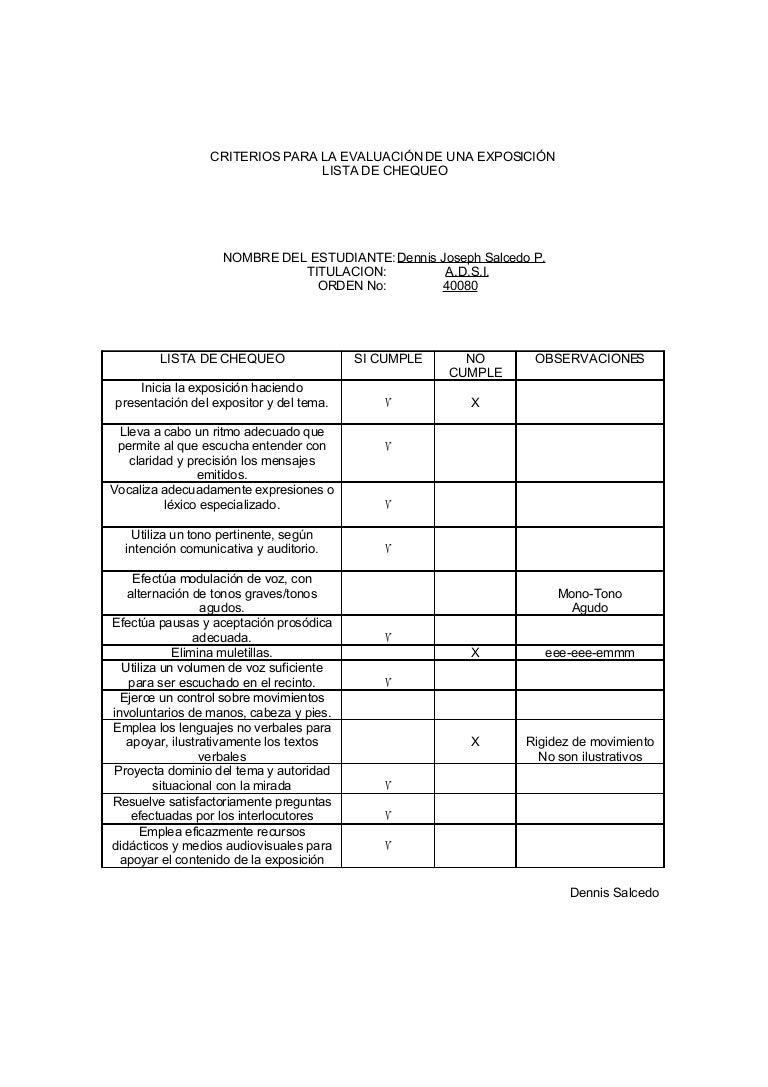 Criterios Para La Evaluaci├│N De Una Exposici├│N