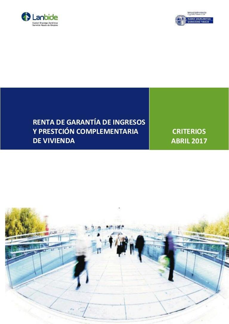 Renta de garantía de ingresos y prestación complementaria de vivienda…
