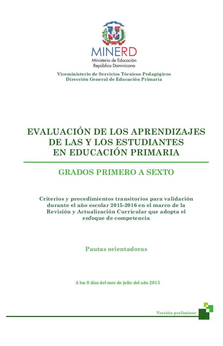 Criterios y procedimientos evaluación 100715