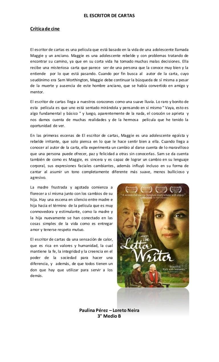 Critica de cine El Escritor de Cartas