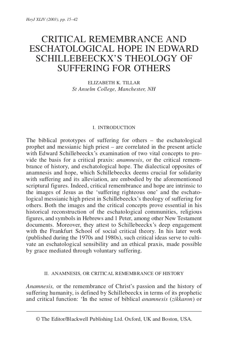 Unbroken Communion: The Place and Meaning of Suffering in the Theology of Edward Schillebeeckx