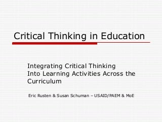 Critical Thinking Skills in Education & Life - American Scientific Affiliation