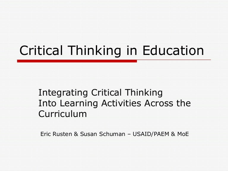 Promoting the Integration Critical Thinking into Middle School