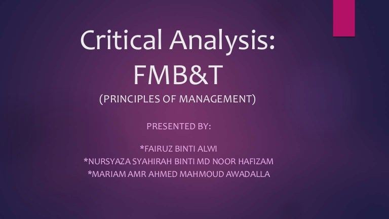 FmbT Critical Analysis