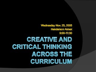 an introduction to critical thinking and creativity think more An introduction to critical thinking and creativity: think more, think better outlines the necessar c ritical thinking skills are essential in virtually any field of study or practice where individuals need to communicate ideas, make decisions, and analyze and solve problems.