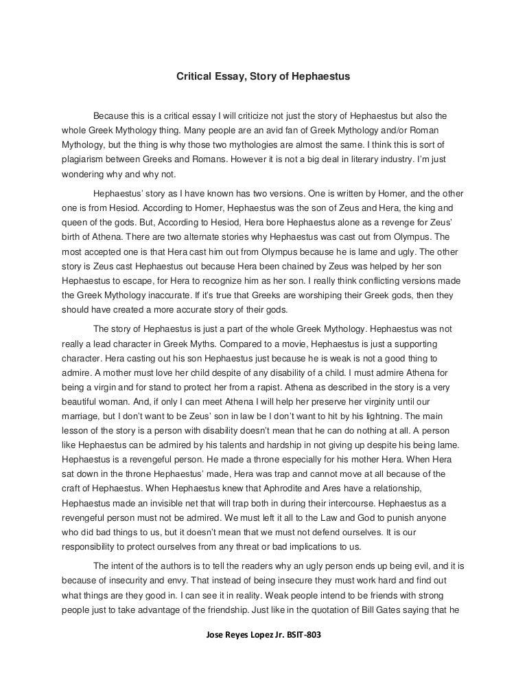 critical essay hephaestus