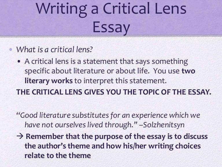 critical lens essay rubric