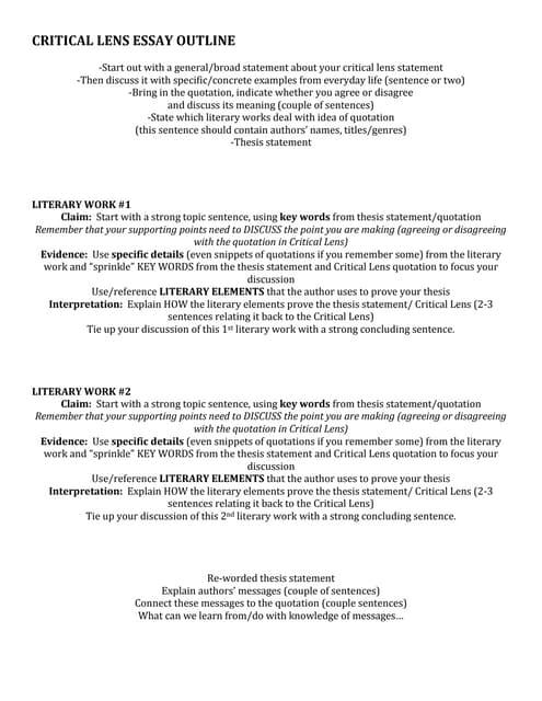 critical lens essay template