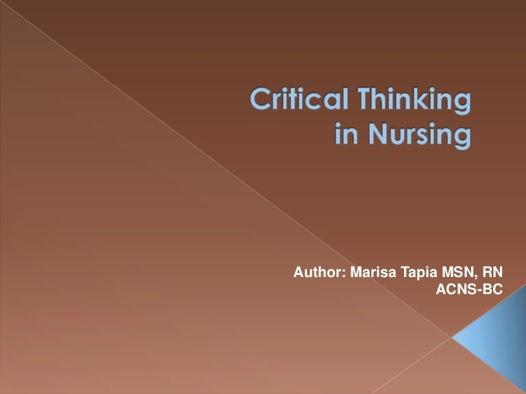 Critical thinking in nursing YouTube