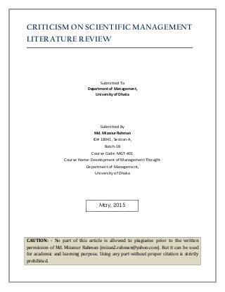 Service industry literature review