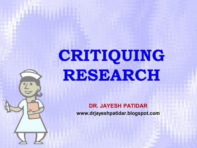 Research critique example rmt 1