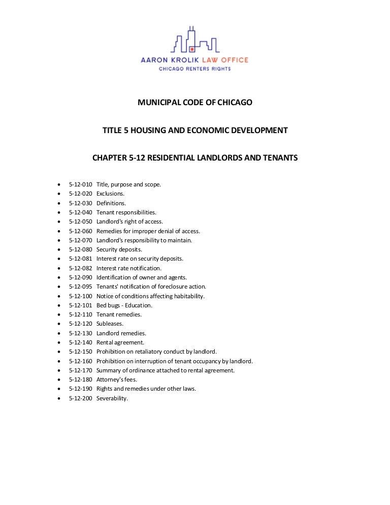Chicago Residential Landlord Tenant Ordinance Full Version