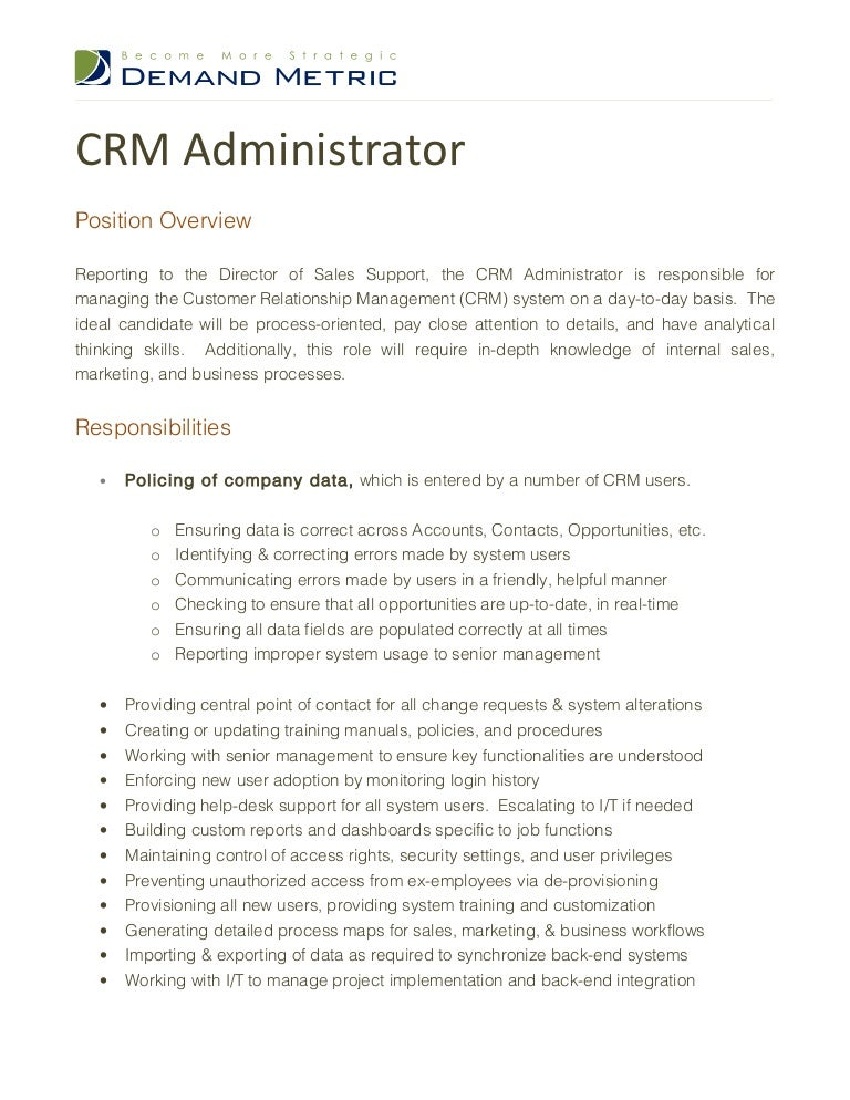 crm administrator job description