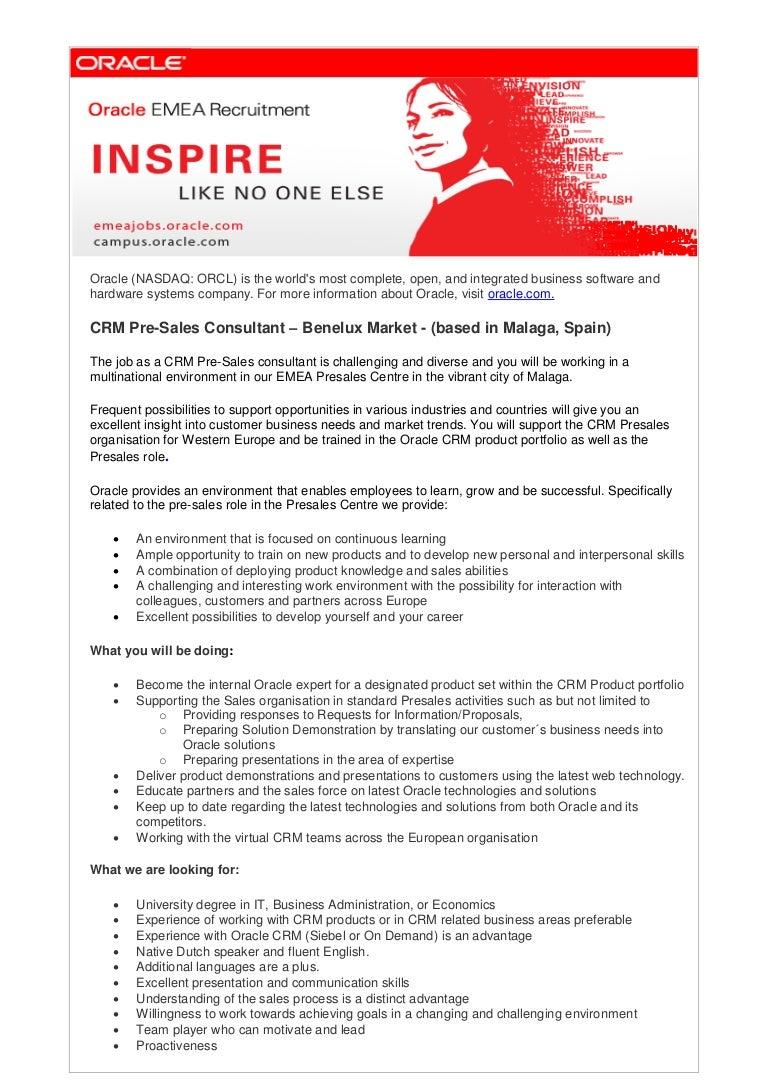 crm pre sales consultant benelux 2013