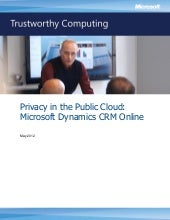 Privacy in the Public Cloud: Microsoft Dynamics CRM Online
