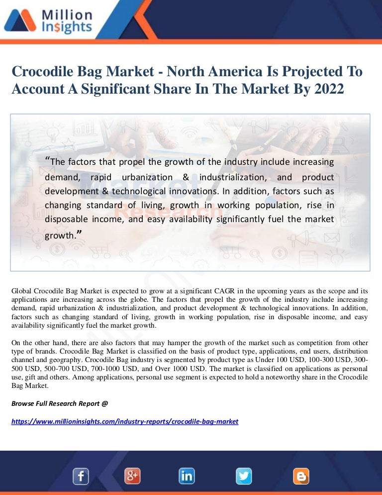 220d831a91d3 Crocodile bag market north america is projected to account a signif…