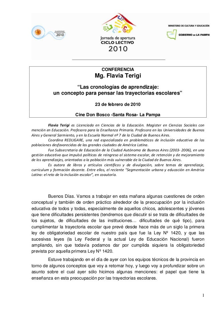 Cronologias de aprendizaje - Mg. Flavia Terigi