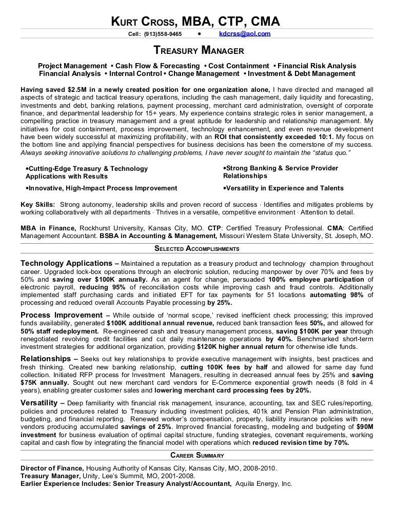 cross kurt treasury manager linked in resume co