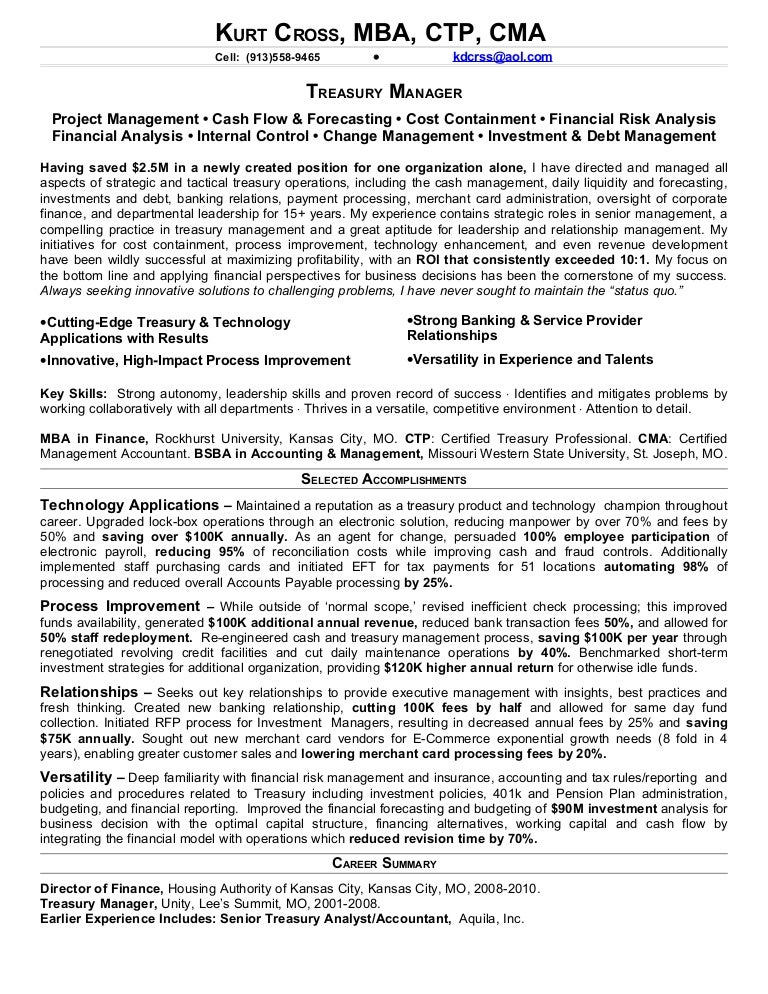 cross kurt treasury resume for li - Job Description Treasury Manager