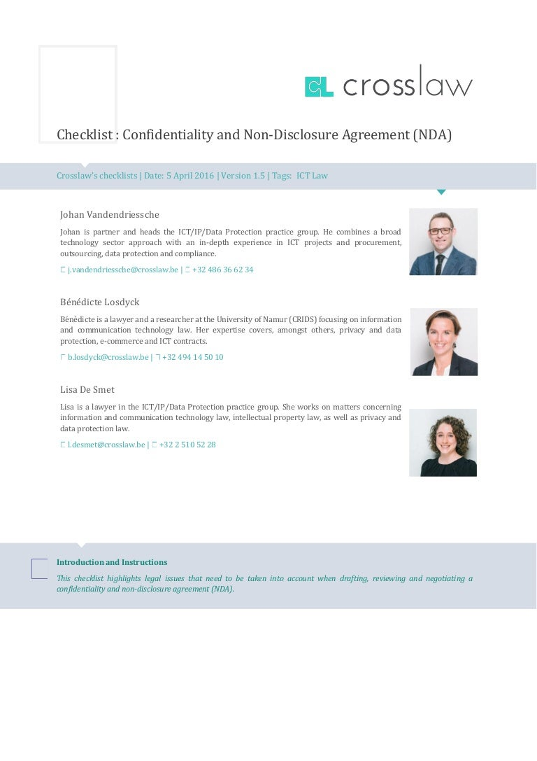 Checklist Confidentiality And Non Disclosure Agreements Nda